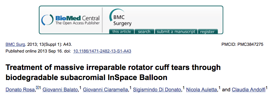 Treatment of massive irreparable rotator cuff tears through biodegradable subacromial InSpace Balloon